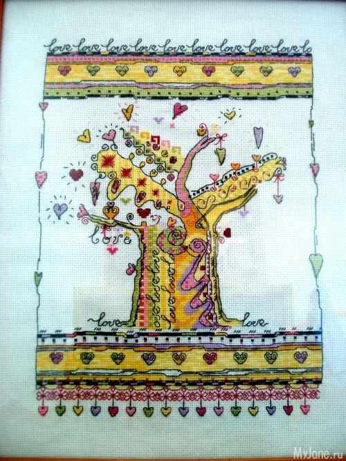 Вышивала по схеме в интернете, нитки переводила сама в madeira.  Вроде и глупая вышивка но чем то понравилась.