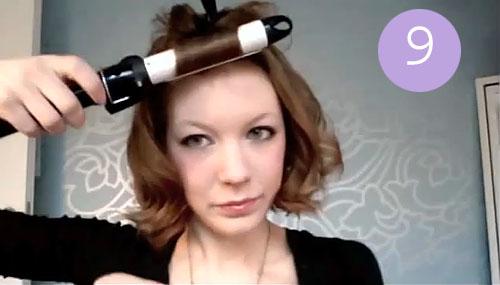 Шаг 10.  Накрутите на щипцы верхние волосы.  В два приема (две прядки).  Лучше по направлению к лицу.