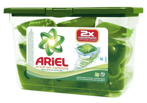 Инновационные капсулы для стирки Ariel Active Gel Capsules