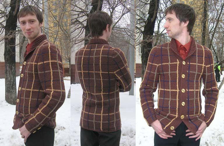 Для куртки с цельновязаным воротником и застежкой на крупные пуговицы выбран узор в клетку, для вертикальных и...