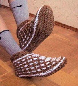 Вязание тапочек чуней спицами