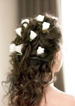 Fresh Hair Styles Wedding hairstyle for long hair with white delicate.