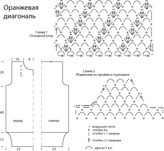 схема орнамента для вязания спицами.