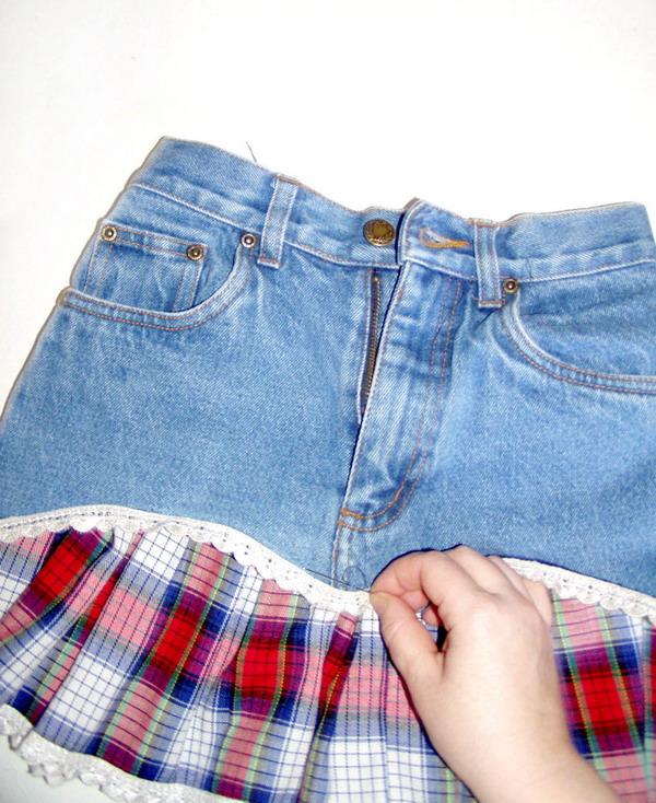 Сшить юбку из старой джинсовой юбки 834