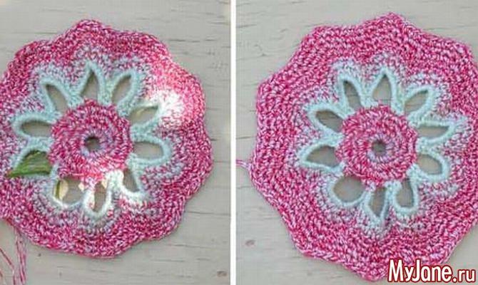 Многоугольный цветок. Вязание крючком