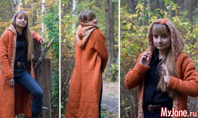 Пальто с капюшоном. Длинный/тунисский крючок