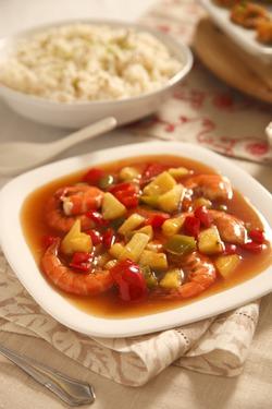 Королевские креветки в кисло-сладком соусе