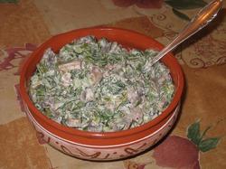 Грибной салат с зеленой фасолью
