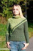 Свитер «Зеленая ветка». Вязание спицами