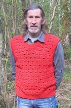 Красный жилет «Ракушка». Вязание крючком и спицами