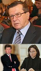 """В. Зубков, А. Миллер и Э. Набиуллина - кандидаты со стороны государства в состав совета директоров """"Газпрома"""""""