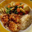 Кусочки курицы с овощным рагу