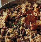 Рис с беконом и красной фасолью