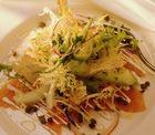 Салат из копченой рыбы с горчичной заправкой