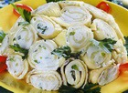 Салат куриный с сырными блинами
