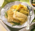 Рыба в лимонно-шафрановом соусе с картофелем