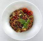 Гречневая каша с овощами и соевым соусом