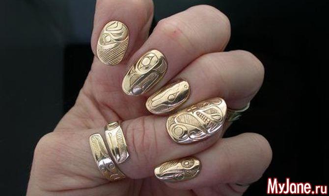 фото дизайн ногтей фольгой