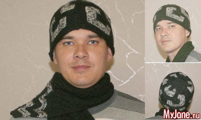 Шапочка и шарф. Лоскутное вязание спицами