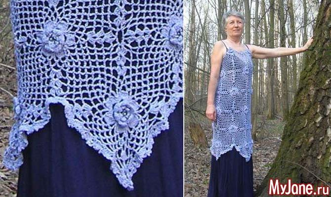 платьеюбка роза квадратные мотивы вязание крючком вязание