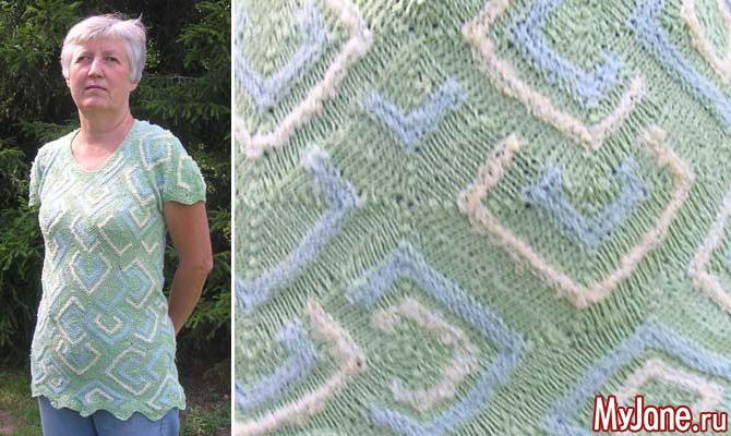 Туника «Зеленые ромбики». Лоскутное вязание спицами