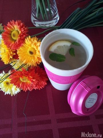 Разгрузочный чай с лимоном и мятой в термокружке