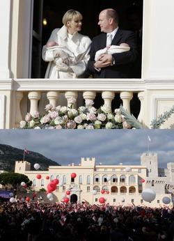Принц Монако Альбер II и княгиня Шарлин Уиттсток представили впервые близнецов подданным княжества