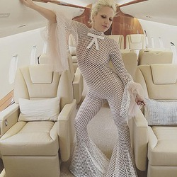 Леди Гага похудела и разделась на борту самолета