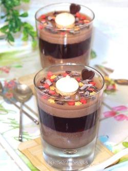 Шоколадно-фруктовое суфле с печеньем