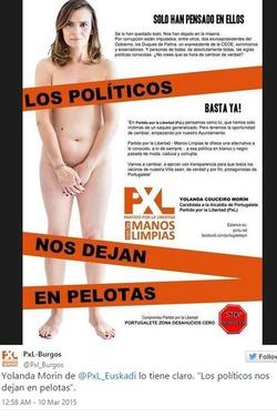 Оригинальный ход предвыборной кампании: испанский кандидат на пост главы администрации Португалете обнажилась