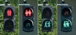 На время «Евровидения-2015» в столице Австрии установят светофоры в поддержку геев
