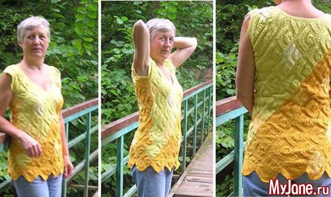 Спицы. Лоскутное вязание. Топ «Ракушки»