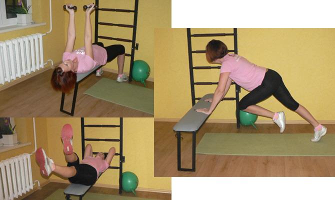 Упражнения на гимнастической скамье