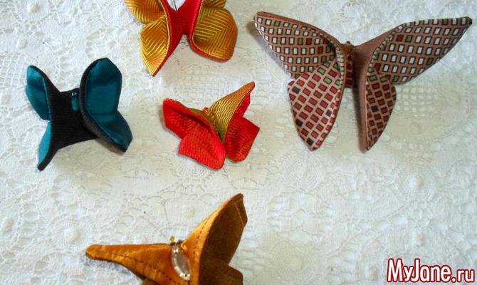 Бабочка-оригами из ткани. Мастер-класс