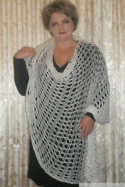 вязаный палантин крючком автор елена басknitted Stole With Crochet
