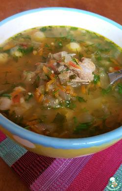 Суп с нутом и баклажаном