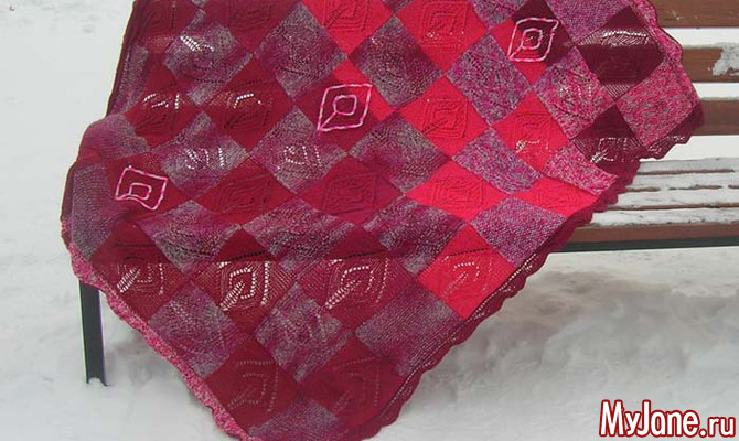 Плед «Плетенка». Вязание спицами, техника «Энтрелак»