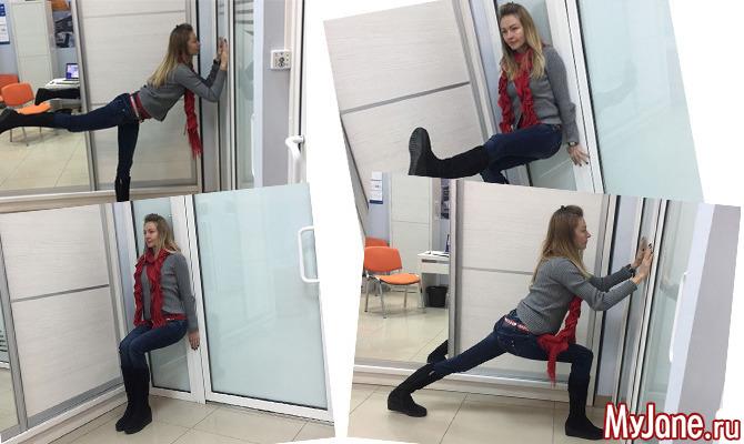 Фитнес в офисе: упражнения у стены