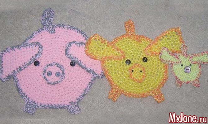свинки плоская и объемная вязание крючком новый год новогодний
