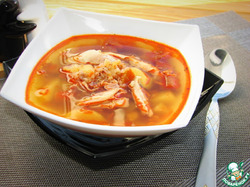 Куриный суп с гречкой и баклажаном