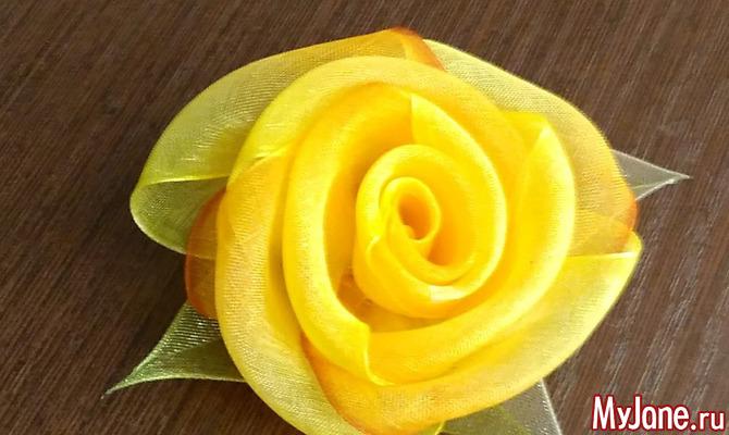 Цветок из органзы. Мастер-класс