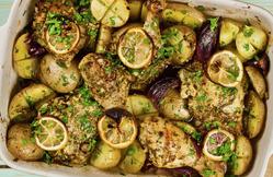 Курица с картошкой, лимоном и чесноком в духовке