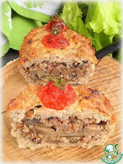 Гречнево-грибная запеканка в мясном хлебе