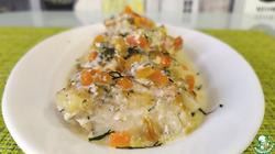Треска с овощами в пикантном соусе