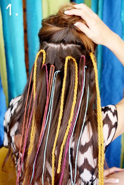 Цветные косички в волосах