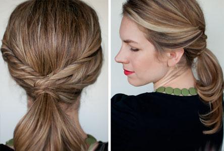 Прическа волосы по бокам и хвостик