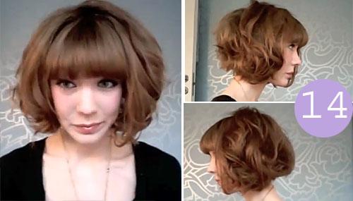 Укладка на средние волосы фото с объемом с челкой