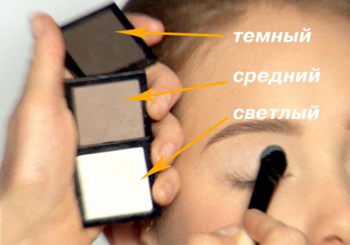 Трехцветный макияж глаз фото